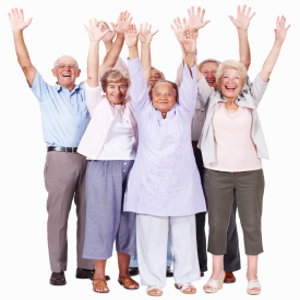 Full length of excited senior people with hands raised over white background